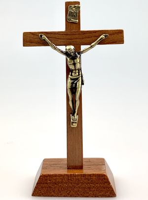 CRUCIFIJO MADERA BASE 16 CM CRISTO METAL