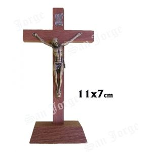 CRUCIFIJO MADERA BASE 11 CM CRISTO METAL